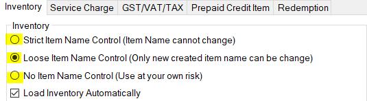 item name control