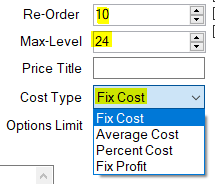Re-order level, max level, cost type